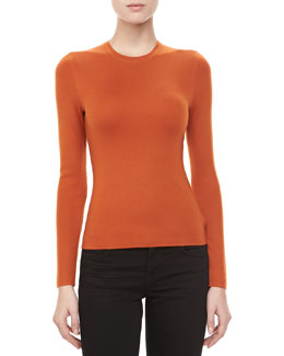 Michael Kors Long-Sleeve Cashmere Sweater, Paprika