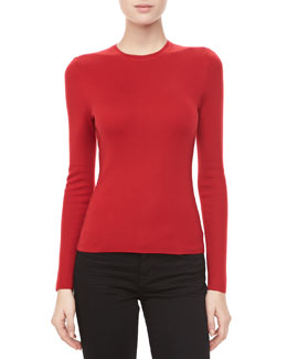 Michael Kors Long-Sleeve Cashmere Sweater, Crimson