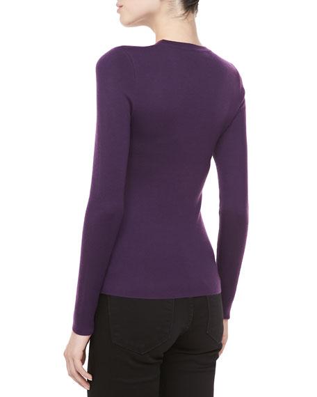 Long-Sleeve Cashmere Sweater, Blackberry