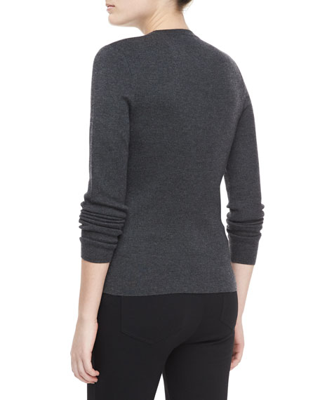 Long-Sleeve Cashmere Sweater, Charcoal