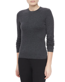 Michael Kors Long-Sleeve Cashmere Sweater, Charcoal