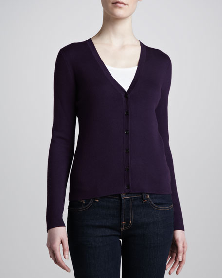 V-Neck Cashmere Cardigan, Blackberry