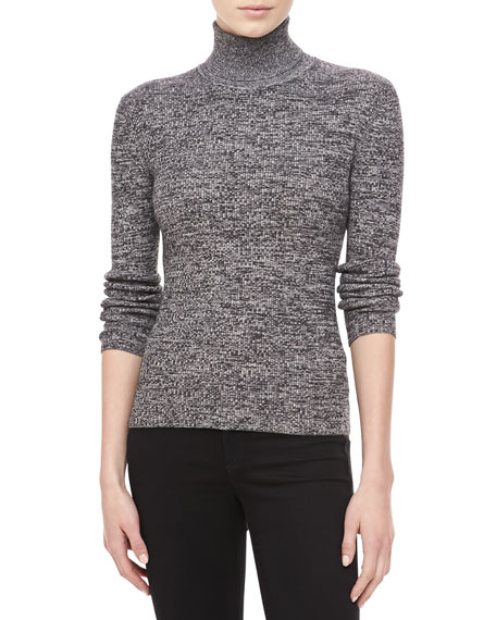 Marled Cashmere Long-Sleeve Turtleneck, Ivory