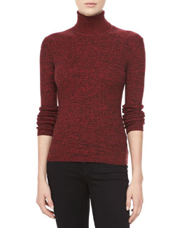 Michael Kors Marled Cashmere Long-Sleeve Turtleneck, Crimson
