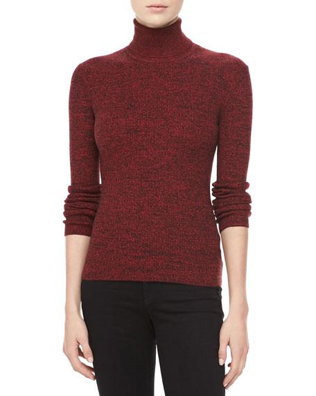 Marled Cashmere Long-Sleeve Turtleneck, Crimson