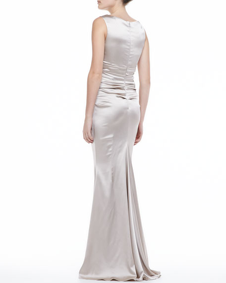 Satin V-neck Ruched-Bodice Gown