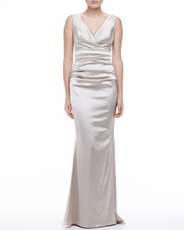 Talbot Runhof Satin V-neck Ruched-Bodice Gown