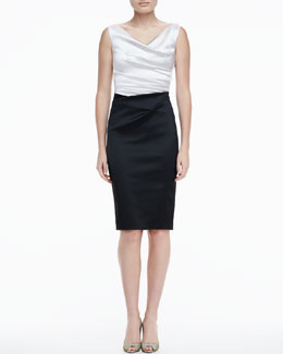 Talbot Runhof Sleeveless Combo Cocktail Dress