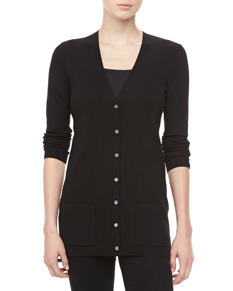 Cashmere V-Neck Cardigan, Black
