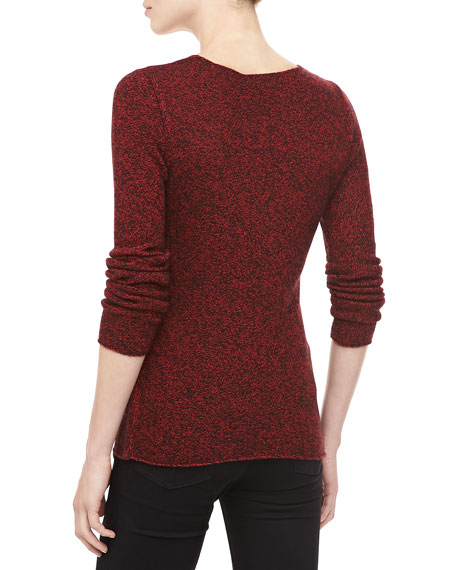 Marled Cashmere Sweater, Crimson