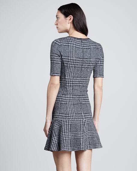 Nikay Drop-Skirt Plaid Dress
