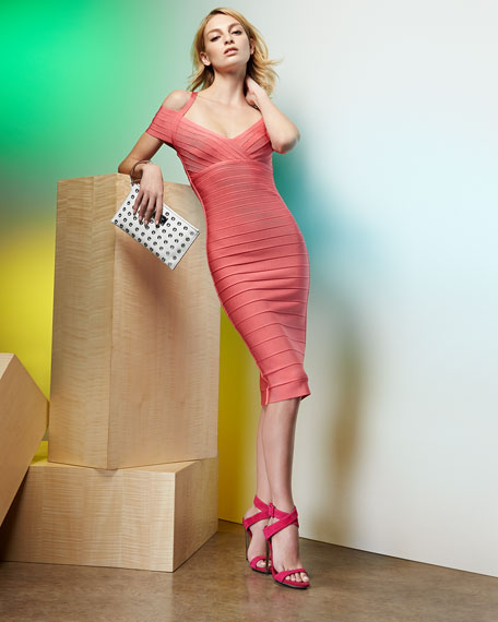 Off-The-Shoulder Bandage Dress, Hibiscus
