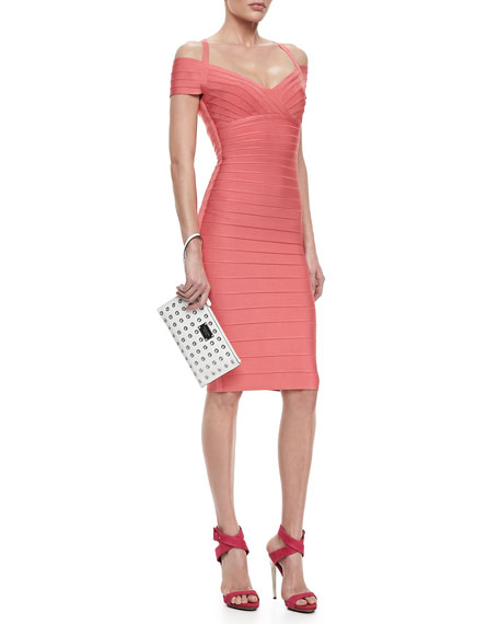 Off-The-Shoulder Bandage Dress, Hibiscus