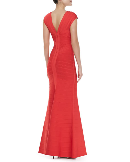 Cap-Sleeve Bandage Gown
