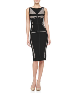 Herve Leger Net-Inset Bandage Dress