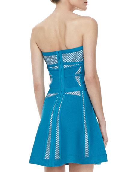 Contrast-Pattern Strapless A-Line Bandage Dress