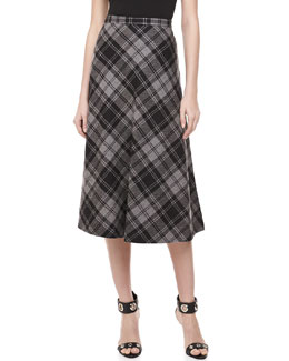 Michael Kors Fairfax Plaid A-line Skirt, Banker