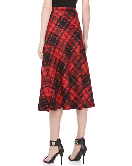 Fairfax Plaid A-line Skirt, Black/Crimson