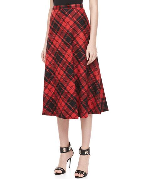 Fairfax Plaid A-line Skirt, Black/Crimson