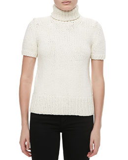 Michael Kors Airspun Short-Sleeve Turtleneck, Ivory