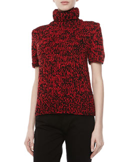 Michael Kors Airspun Short-Sleeve Turtleneck, Crimson