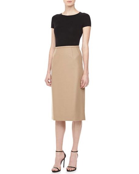 Long Felt Pencil Skirt, Fawn