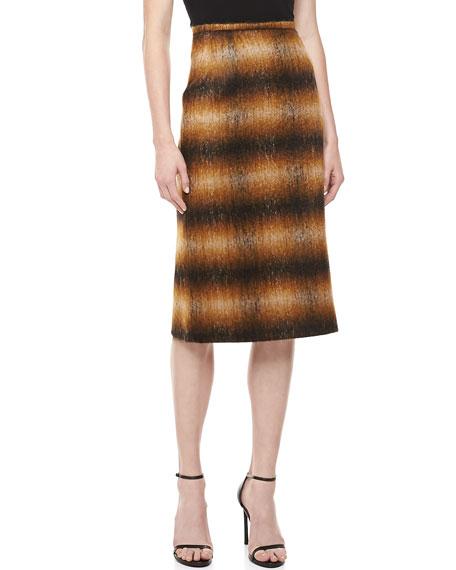 Ombre Plain Pencil Skirt, Chocolate