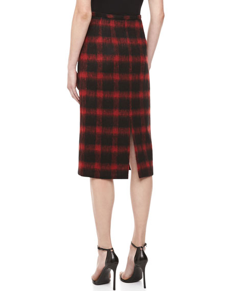 Brushed Check Pencil Skirt, Crimson