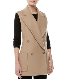 Michael Kors Wool Melton Double-Breasted Vest