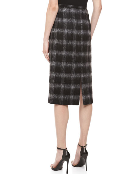 Brushed Medium Check Pencil Skirt