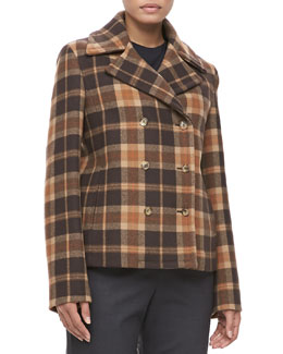 Michael Kors Plaid Wool Pea Coat