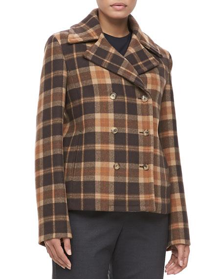 Plaid Wool Pea Coat