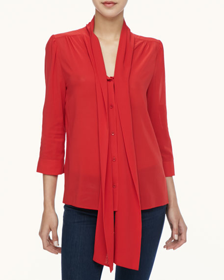 Alice And Olivia Arie Tie Neck Blouse 52