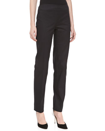 Relaxed Stretch-Twill Pants, Black