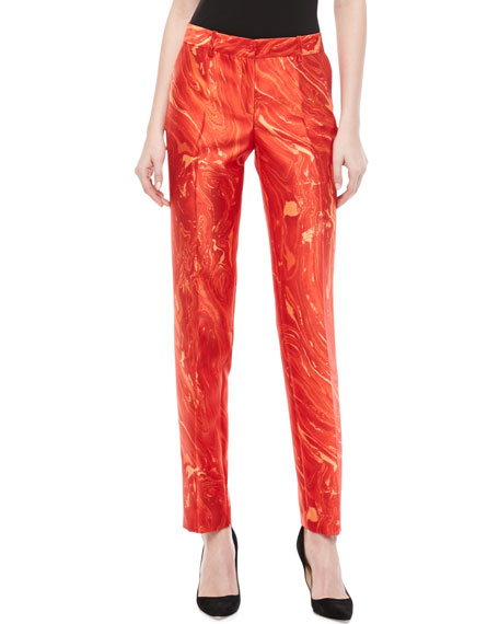 Samantha Agate-Print Shantung Skinny Pants