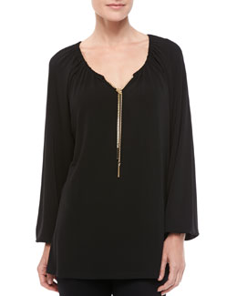 Michael Kors Chain-Tie Jersey Top