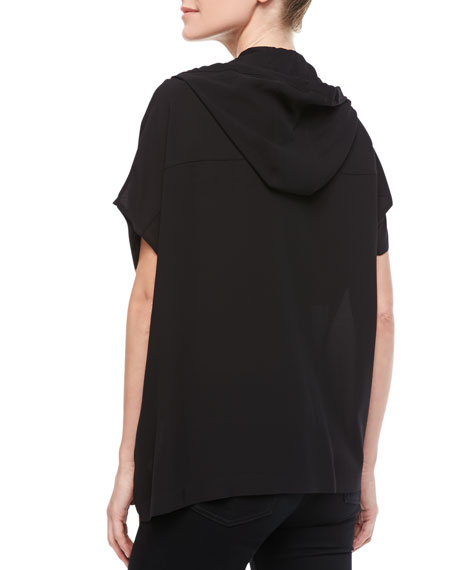 Hooded Oversized Silk Blouse