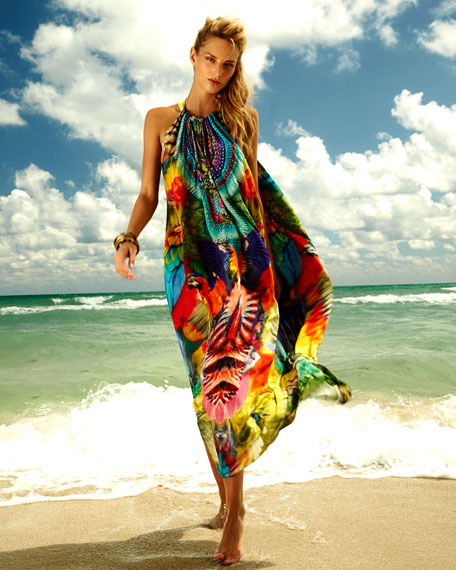 Printed Crystallized Maxi Coverup