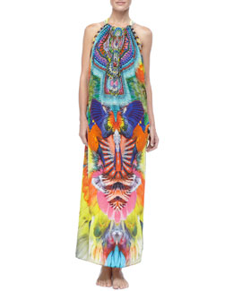 Camilla Printed Crystallized Maxi Coverup