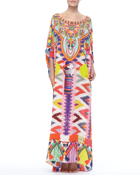 Beaded Printed Maxi Coverup