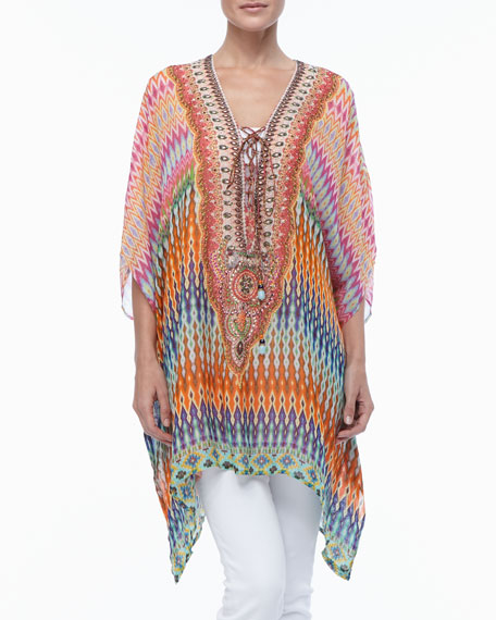 Lace-Up-Front Beaded Caftan