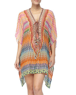 Camilla Lace-Up-Front Beaded Caftan