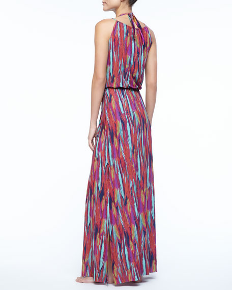 Napo Feather-Print Maxi Dress
