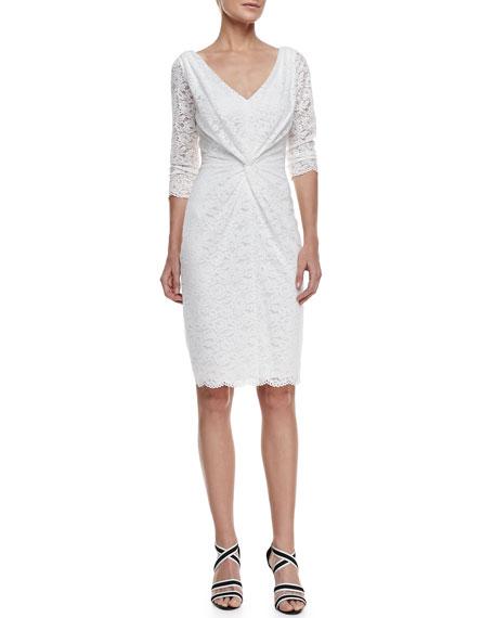 3/4-Sleeve V-Neck Lace Dress, Snow