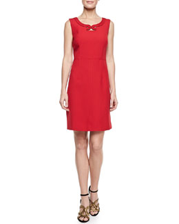 Laundry by Shelli Segal Sleeveless Jewel-Neck Crepe Dress