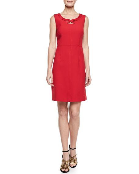 Sleeveless Jewel-Neck Crepe Dress