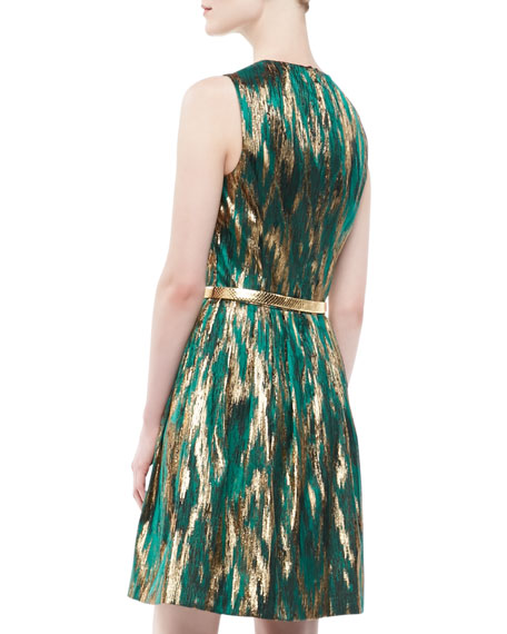 Ikat Jacquard Metallic Dress