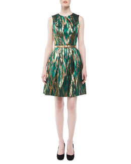 Michael Kors Ikat Jacquard Metallic Dress