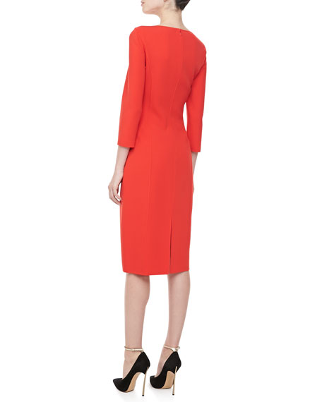 3/4-Sleeve Crepe Sheath Dress, Coral