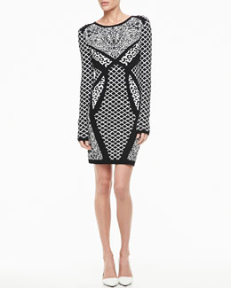 Nicole Miller Artelier Long-Sleeve Mixed-Print Sweater Dress